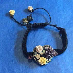 Velvet heart ❤️ flower 🌸 bracelet